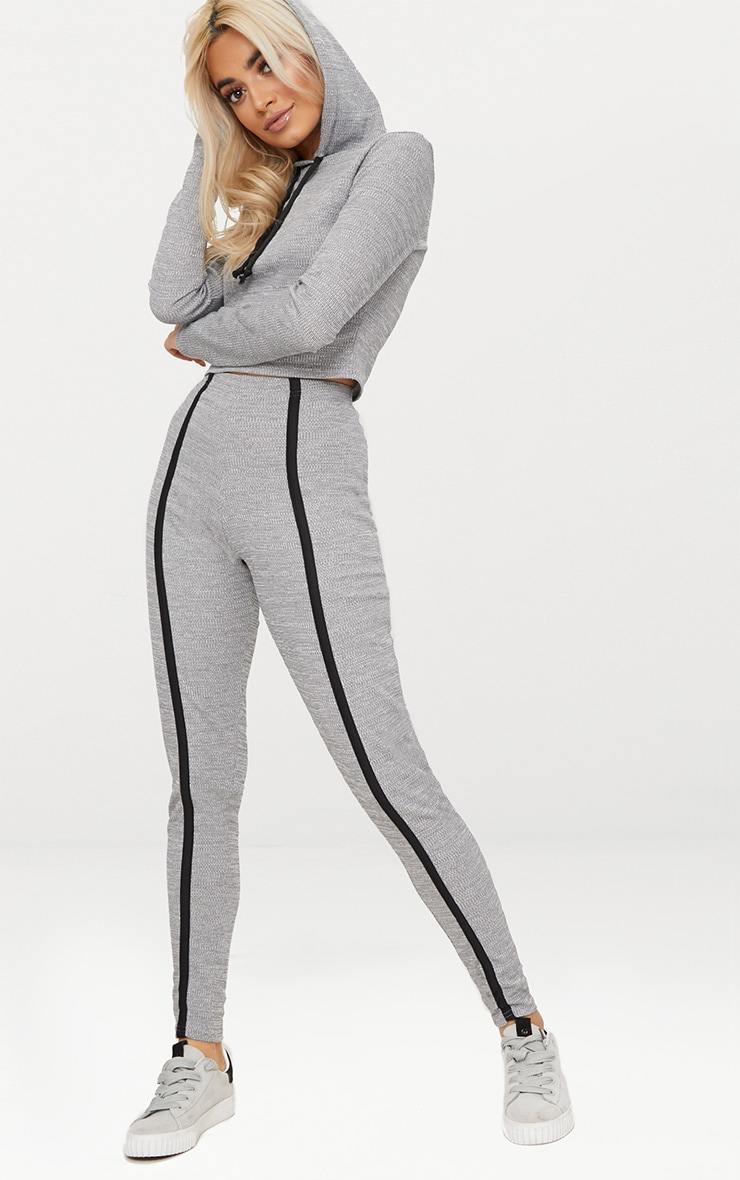 Grey Rib Track Stripe Jogger  1