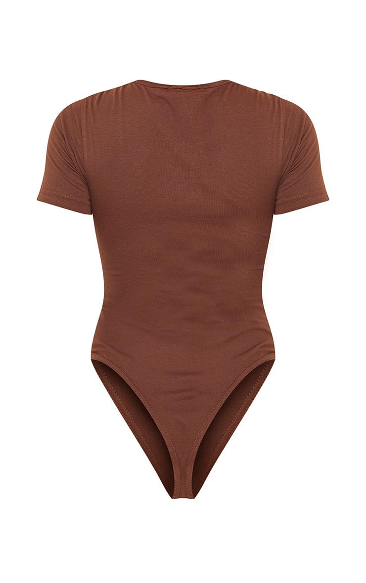 PRETTYLITTLETHING Chocolate Brown Short Sleeve Bodysuit 6