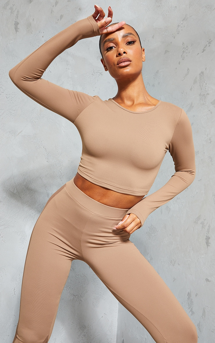 Brown Long Sleeve Lace Up Back Sport Top 2