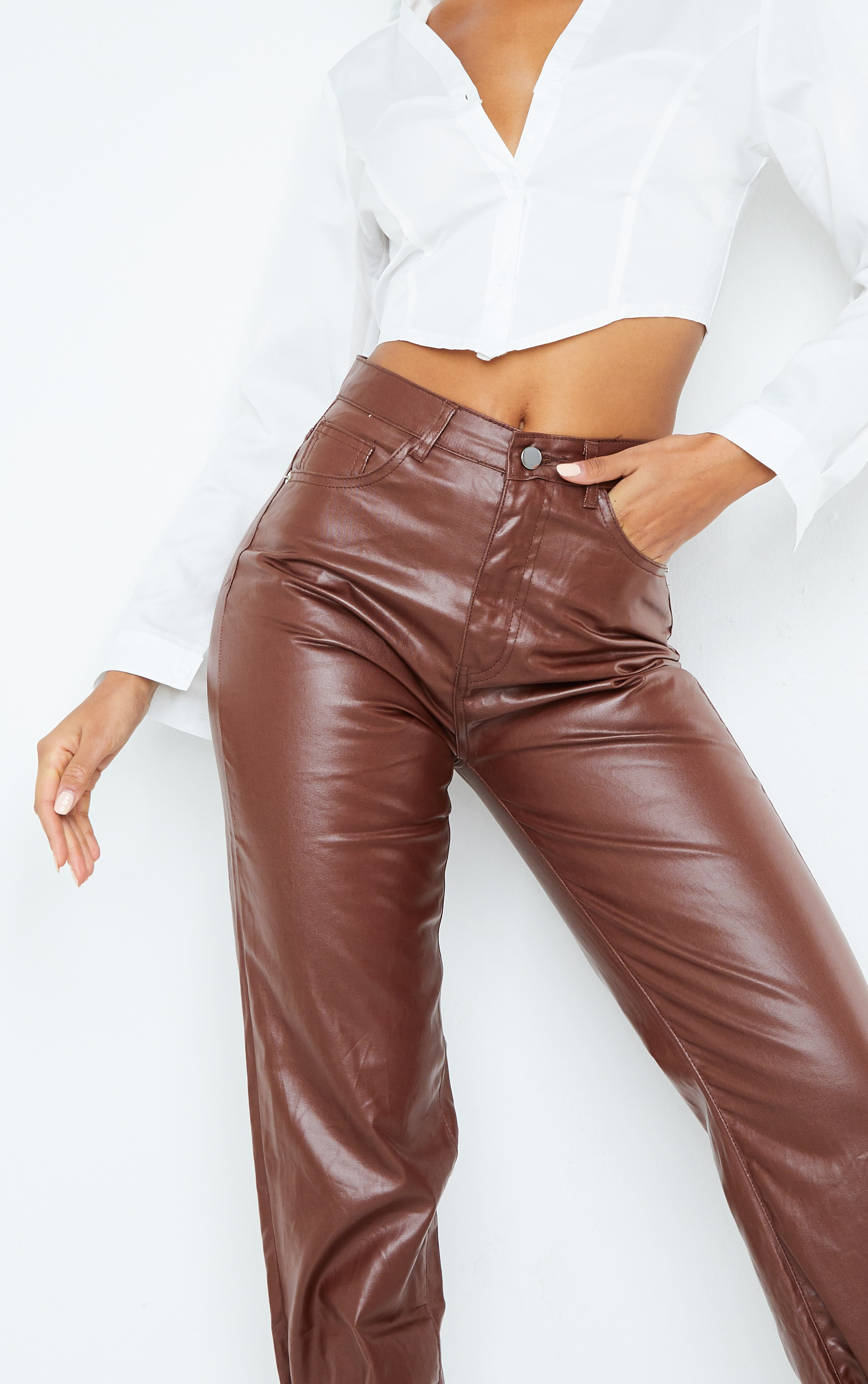 Chocolate Tied Hem Coated Straight leg Jean 4