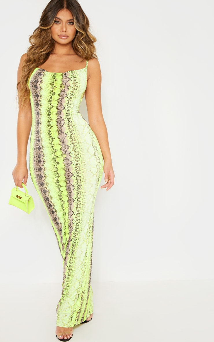 Neon Lime Cowl Snake Print Maxi Dress 1