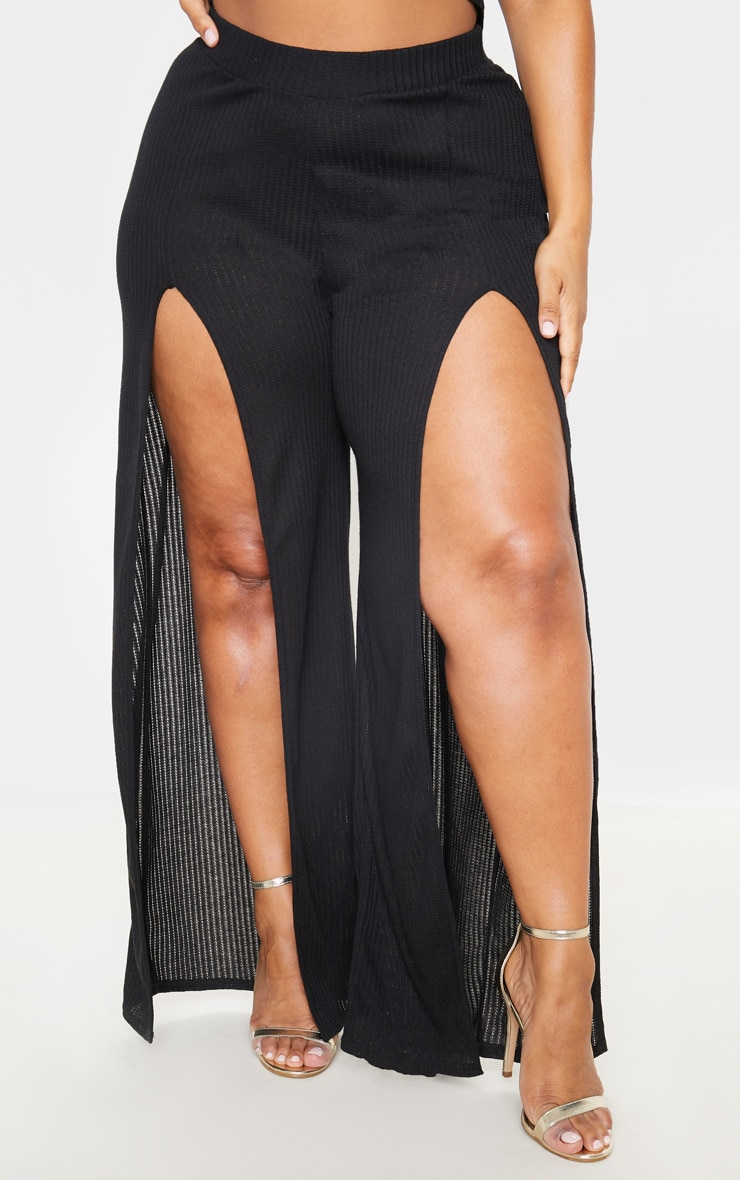 Plus Black Textured Split Detail Wide Leg Pants 2