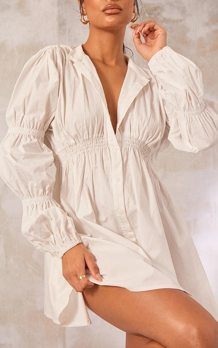 White Cotton Ruched Arm Detail Shirt Dress 4