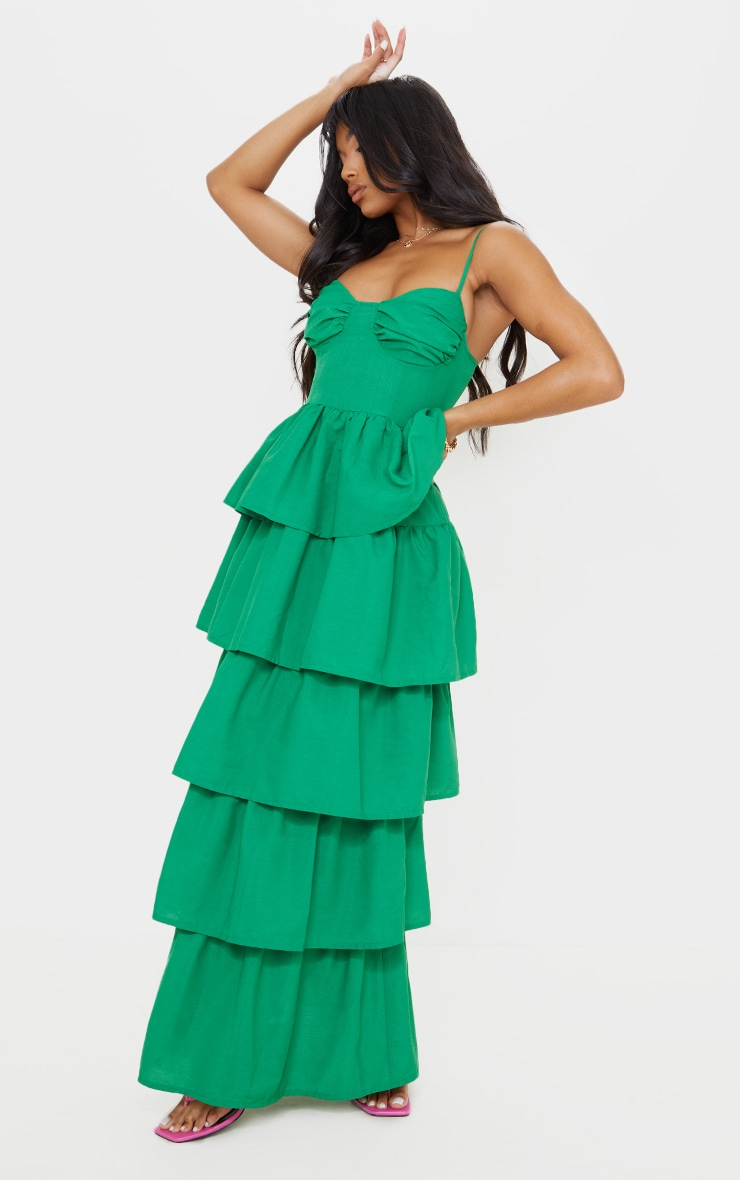 Bright Green Cup Detail Strappy Tiered Maxi Dress 3