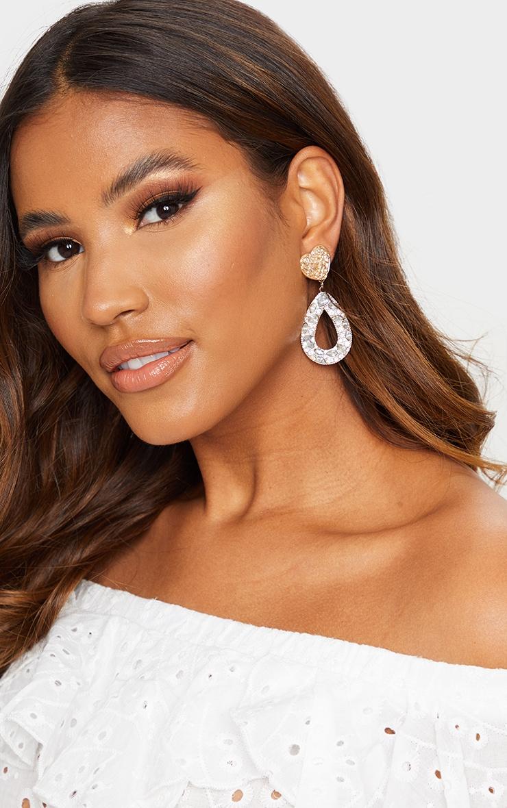 Gold Textured Heart Earrings 1
