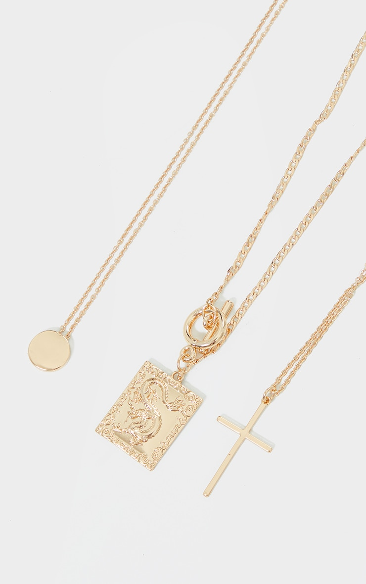 Gold T Bar Statement Pendant Layering Necklace 3