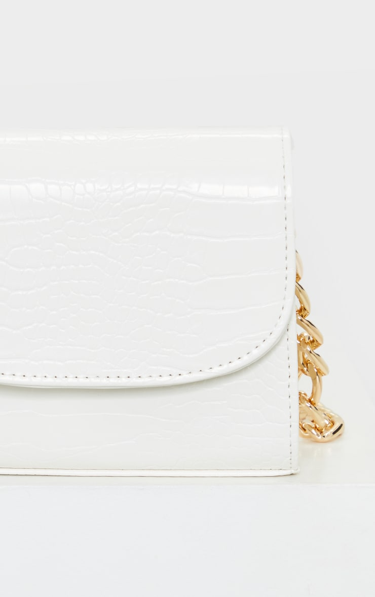 White Croc Chunky Chain Shoulder Bag 4