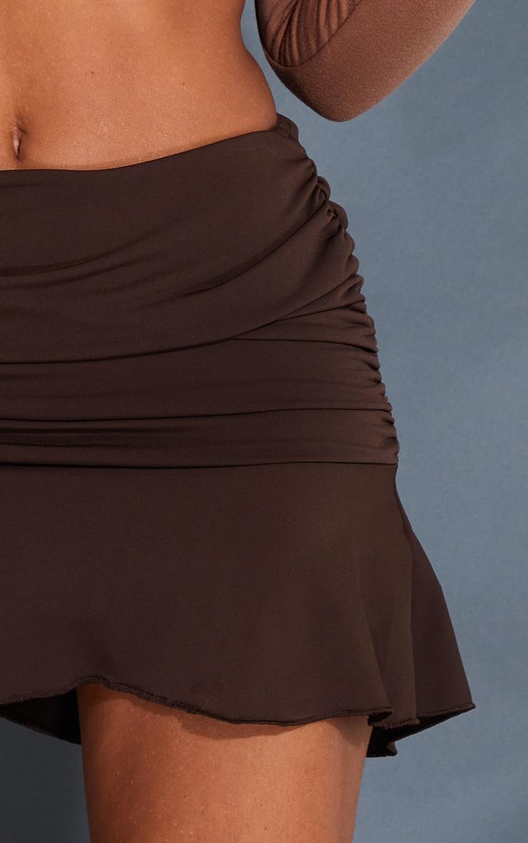 Chocolate Ruched Slinky Frill Hem Mini Skirt 5