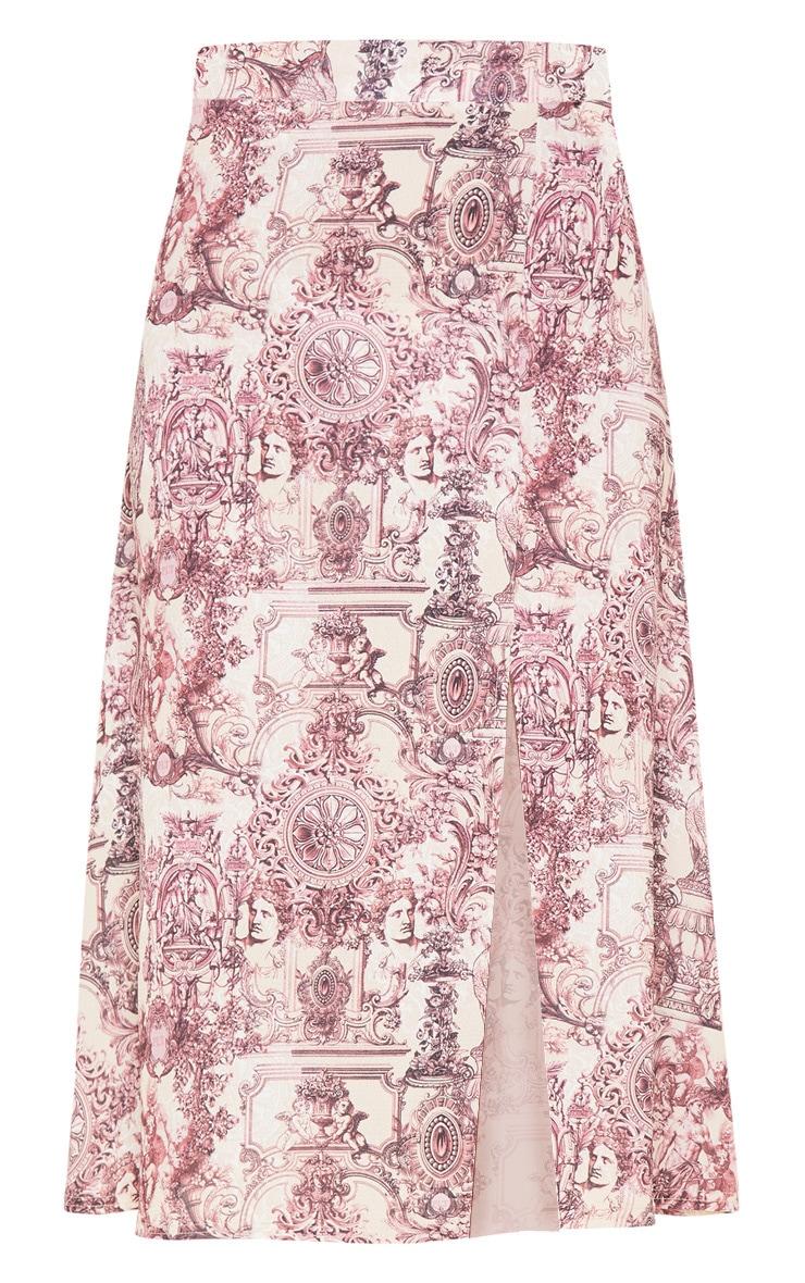Stone Renaissance Print Floaty Midi Skirt 3