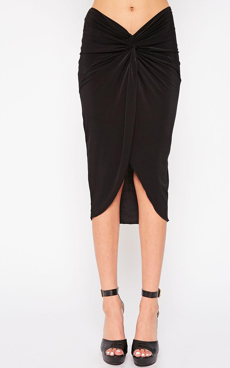 Florentina Black Knot Front Midi Skirt 2