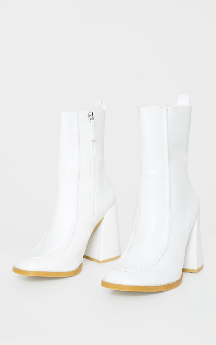 White Curved Toe Block Heel Ankle Boot 3
