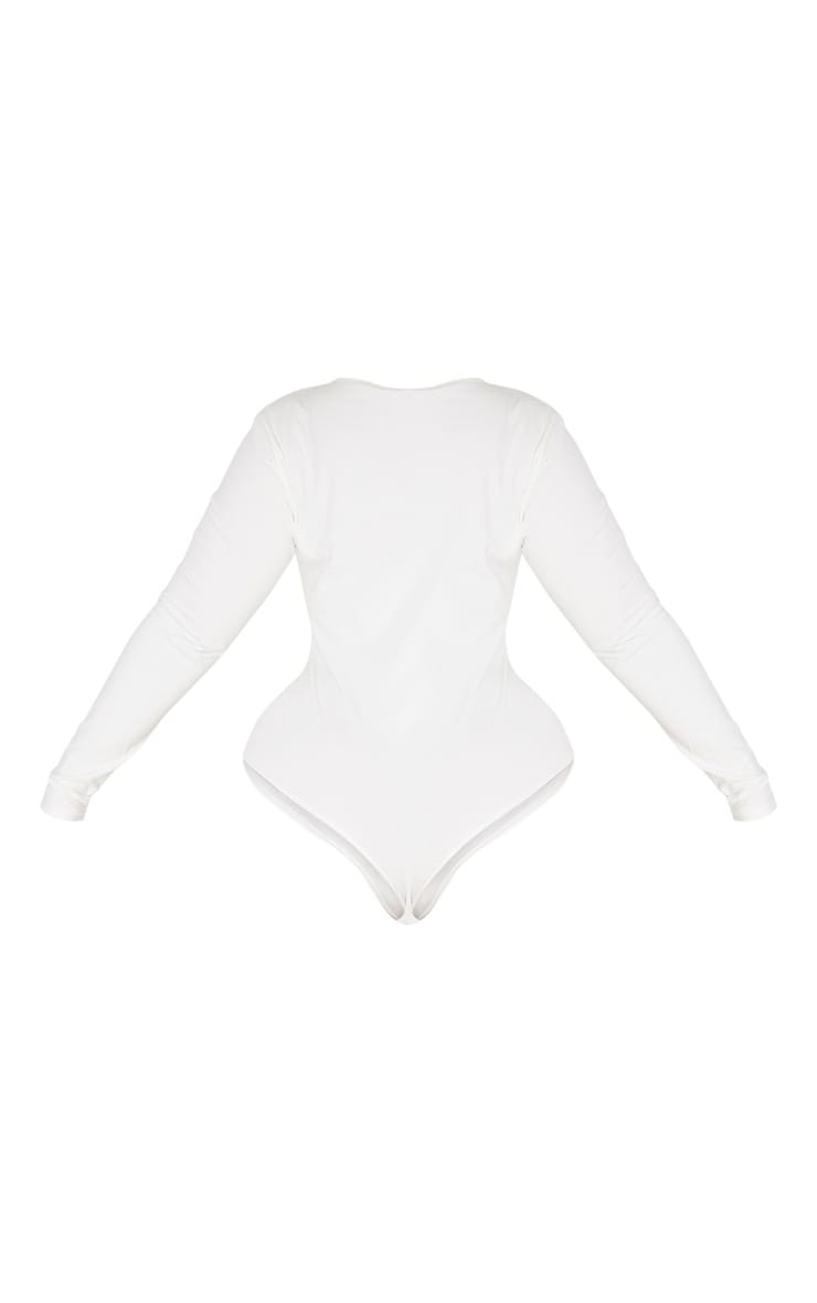 Plus Cream Cotton V Neck Bodysuit  4