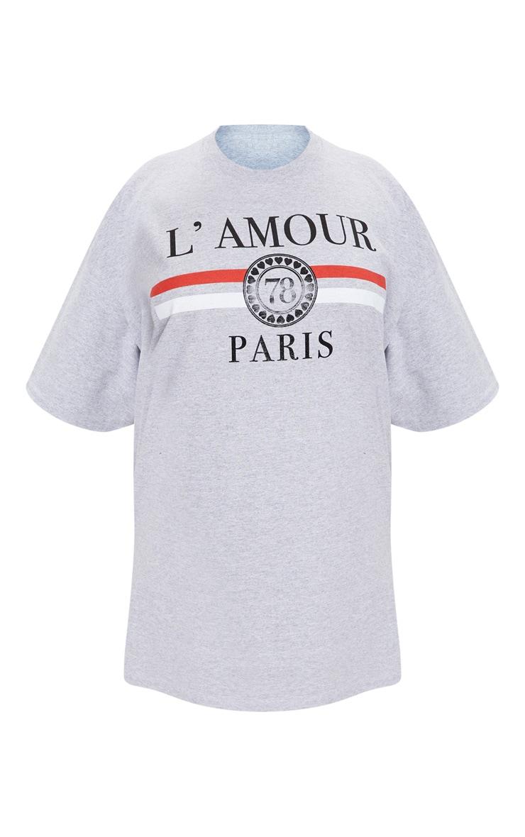 Plus Grey Lamour Slogan Foil Print T Shirt 3