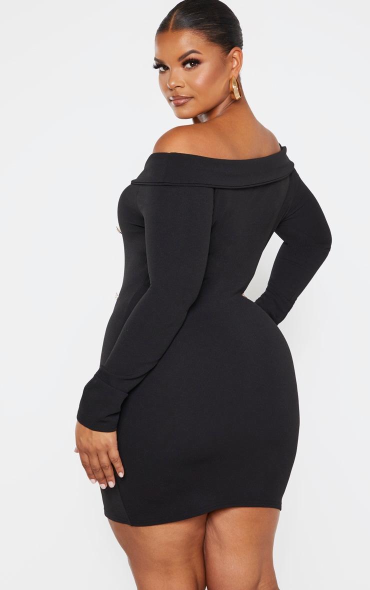 Plus Black Bardot Gold Button Blazer Dress 2