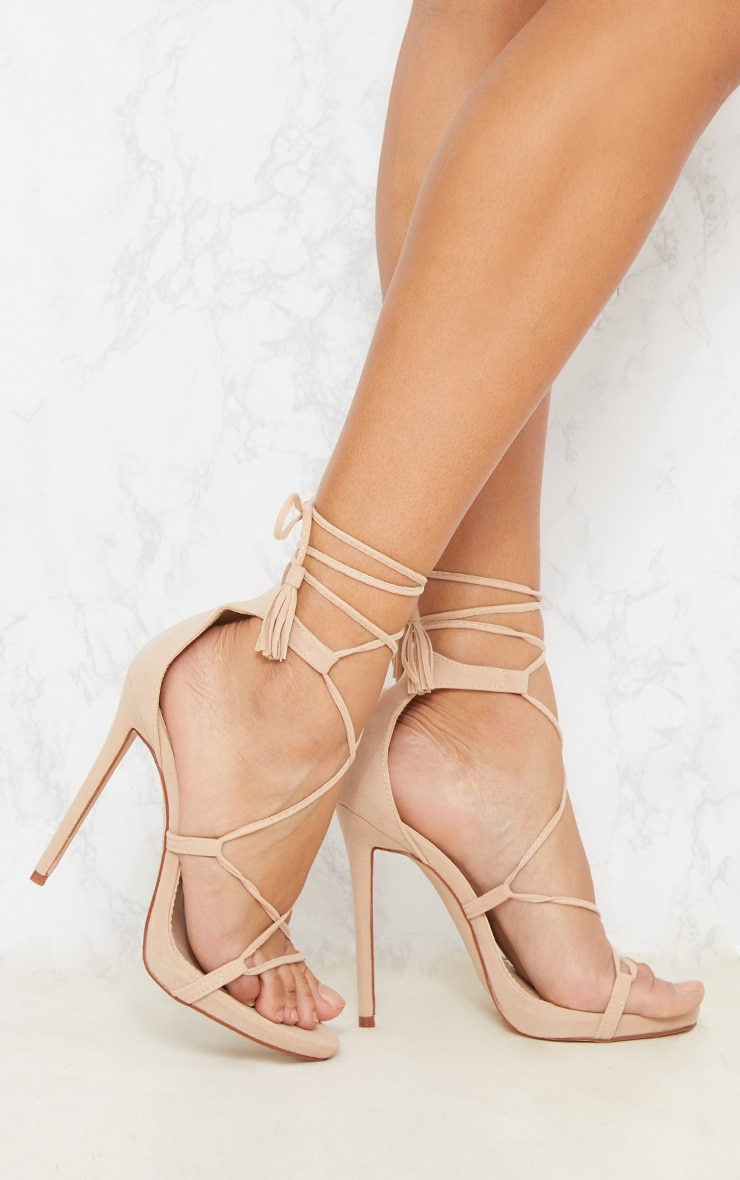 Rosaline Nude Tassel Lace Up Heels  Shoes  Prettylittlething-4851