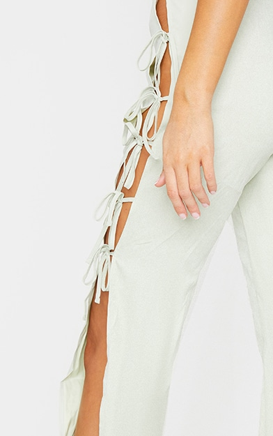 Sage Lace Up Detail Flared Trousers 4