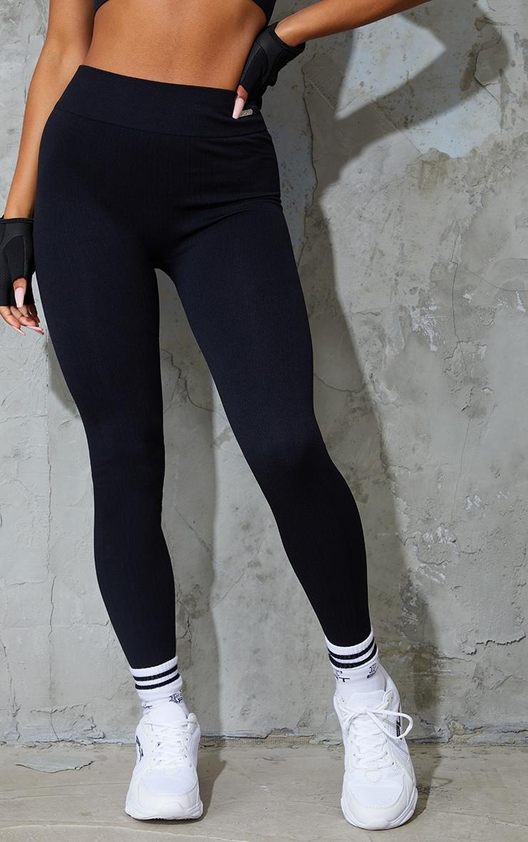 Black Seamless Rib High Waisted Gym Leggings 2