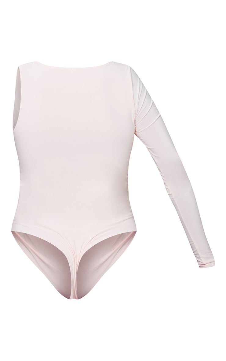 Nude Slinky One Shoulder Cut Out Bodysuit 6