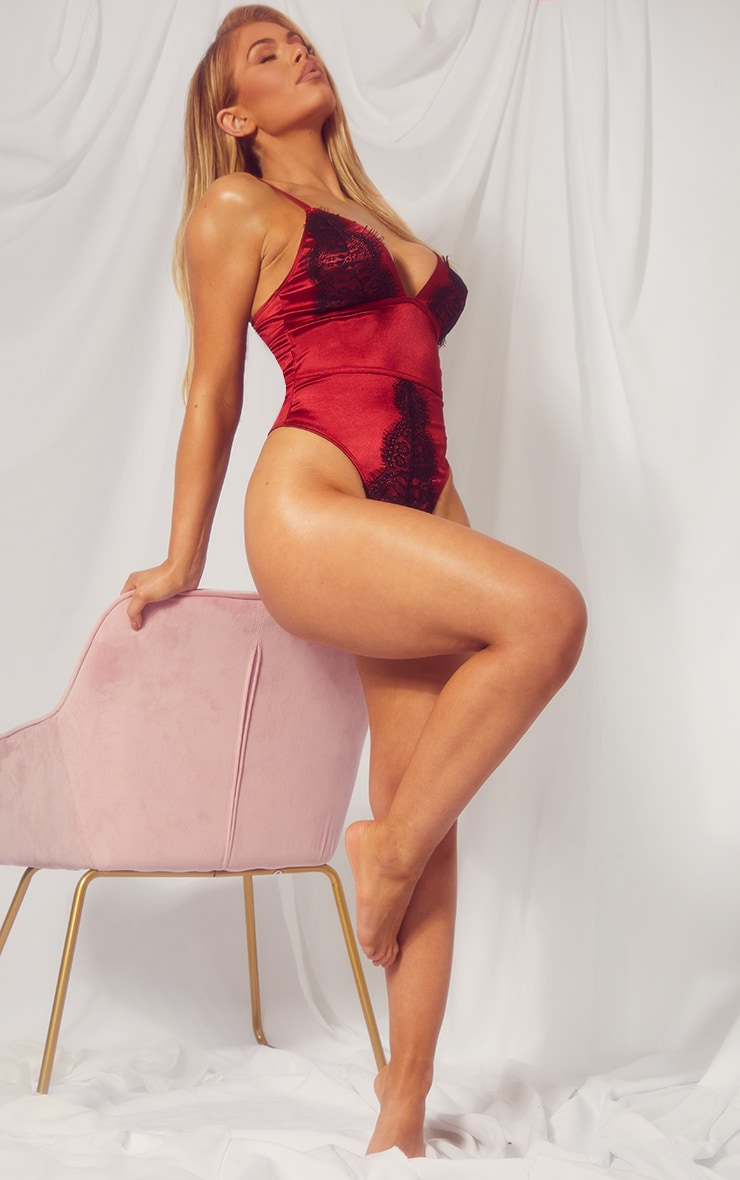 Dark Red Triangle Satin And Lace Body 1