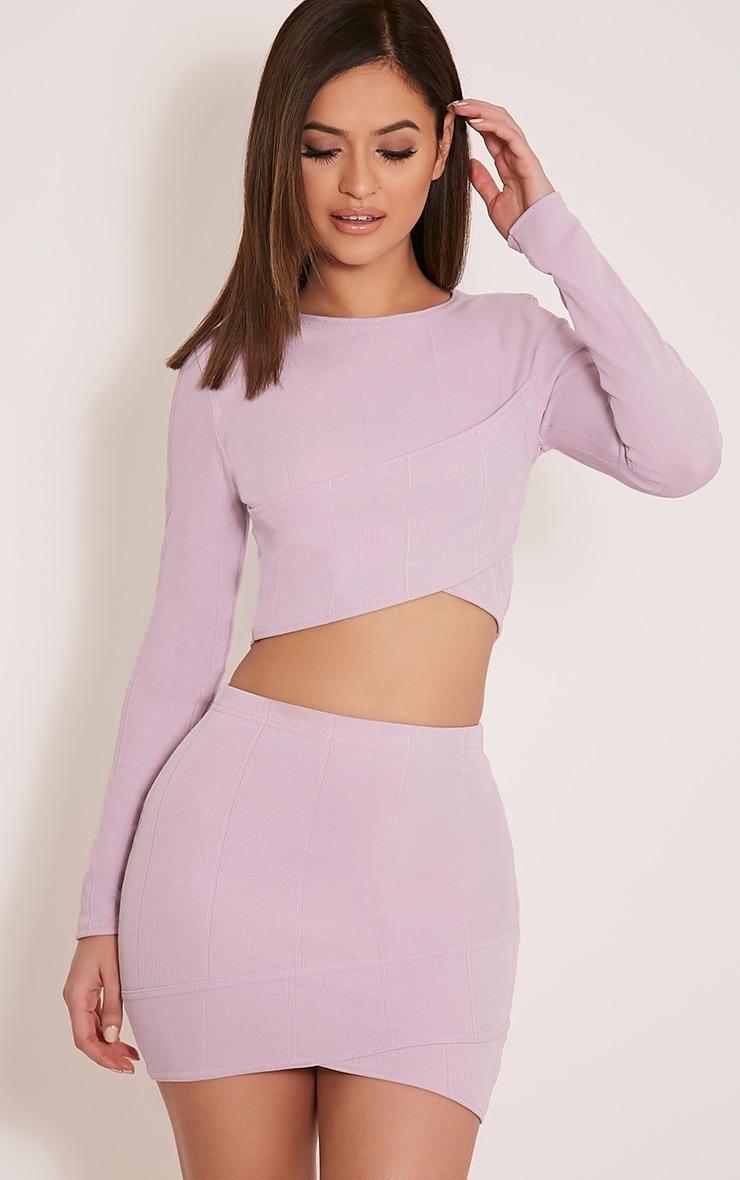 Alena Mauve Cross Front  Bandage Mini Skirt 1