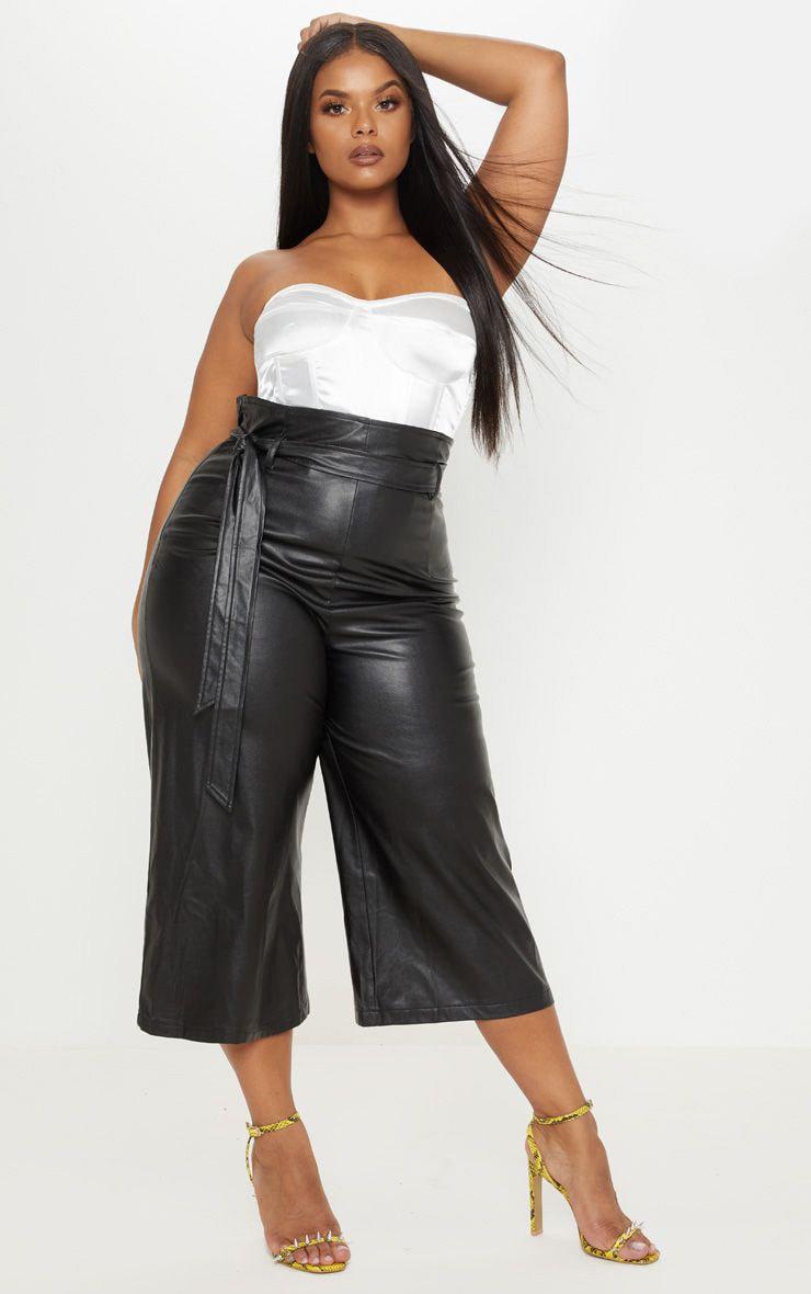 Plus Black Faux Leather Belt Detail Culotte  1