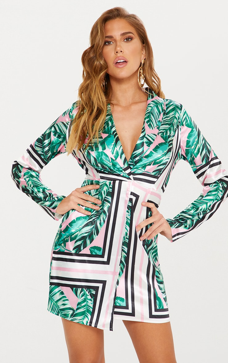 Pink Tropical Satin Blazer Dress