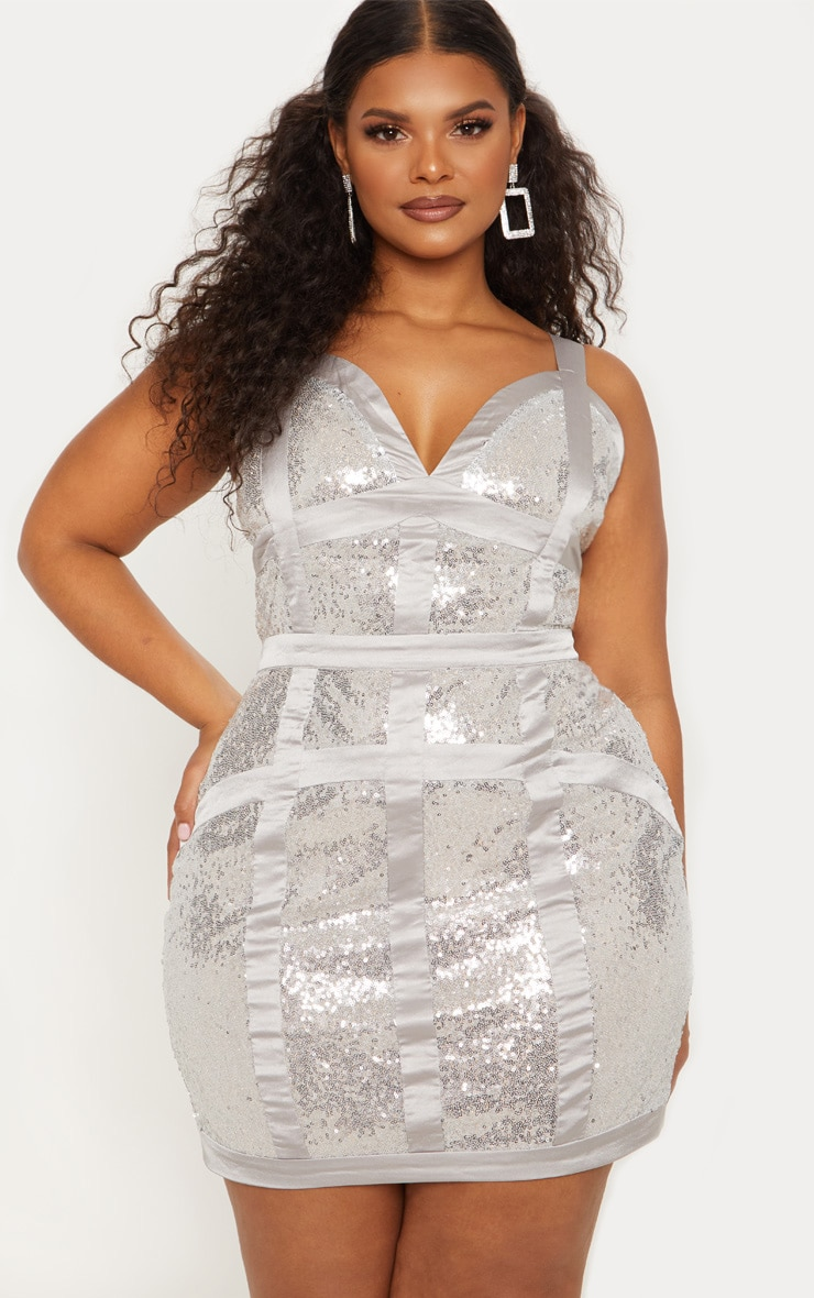 Plus Silver Sequin Panel Satin Trim Bodycon Dress 2