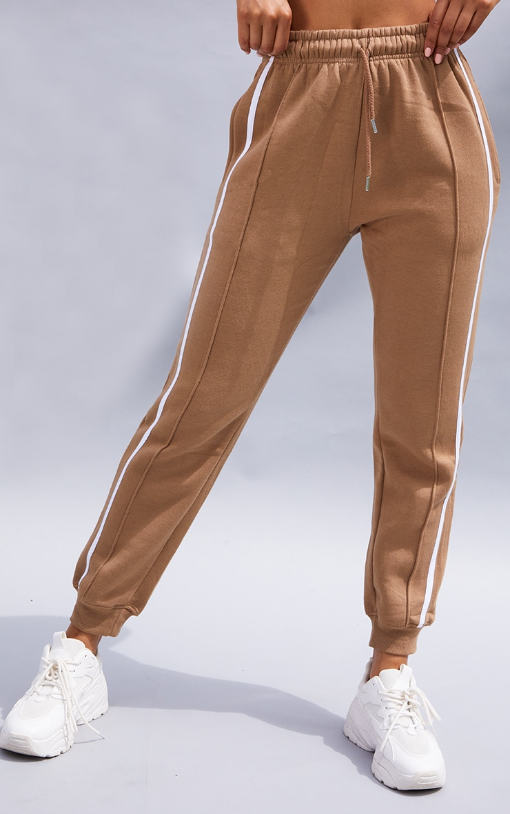Taupe Double Side Stripe Joggers 2
