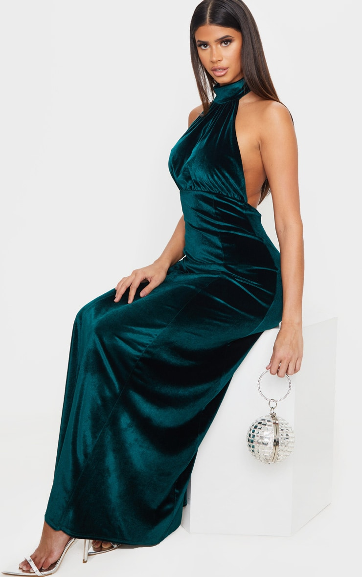 Emerald Green High Neck Halterneck Velvet Maxi Dress 3