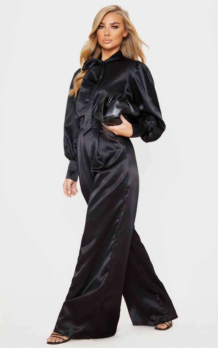 Black Hammered Satin Bow Neck Tie Long Sleeve Jumpsuit 4