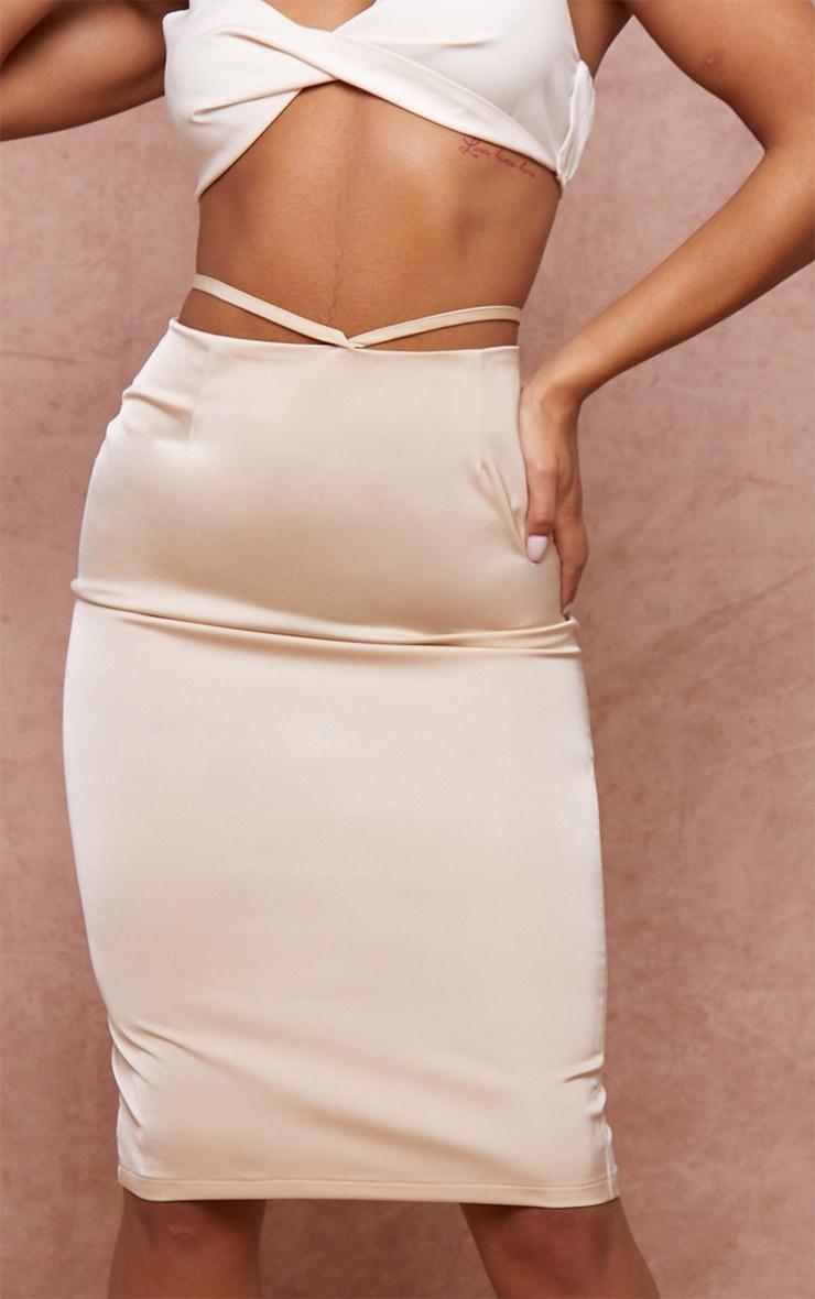Champagne Woven Tie Waist Midi Skirt 4