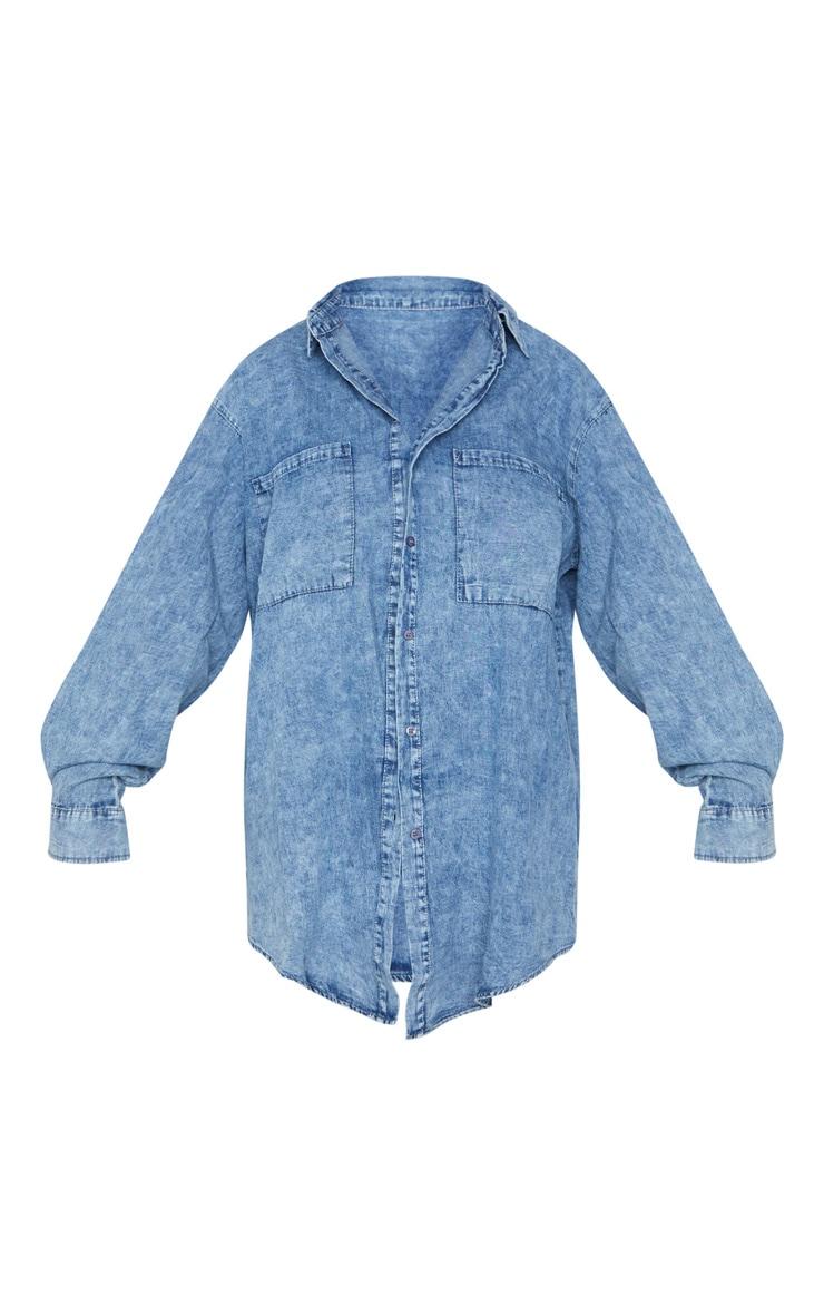 Acid Blue Wash Chambray Oversized Denim Shirt 5