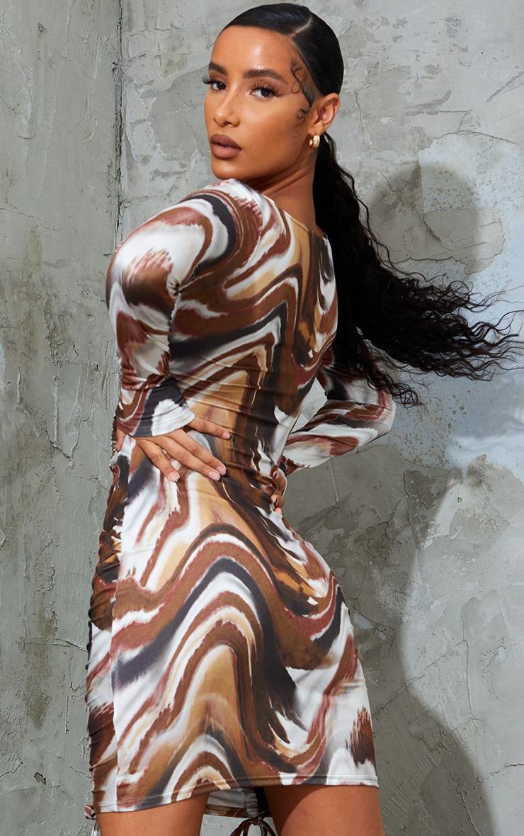 Brown Abstract Animal Print Soft Jersey Double Ruched Square Neck Bodycon Dress 2
