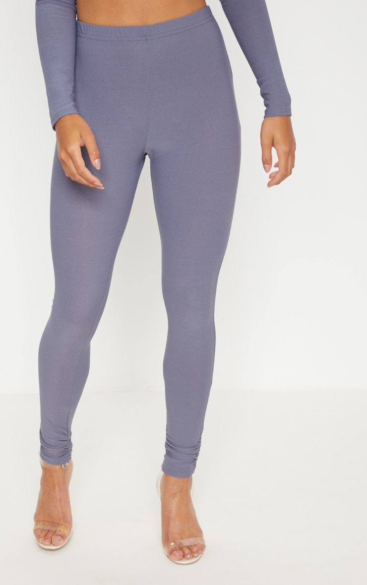 Petite Grey Ruched Hem Leggings 2
