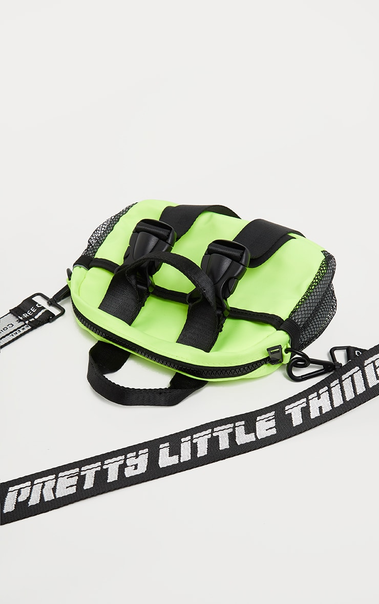 PRETTYLITTLETHING Lime Double Clasp Nylon Mini Bag 2