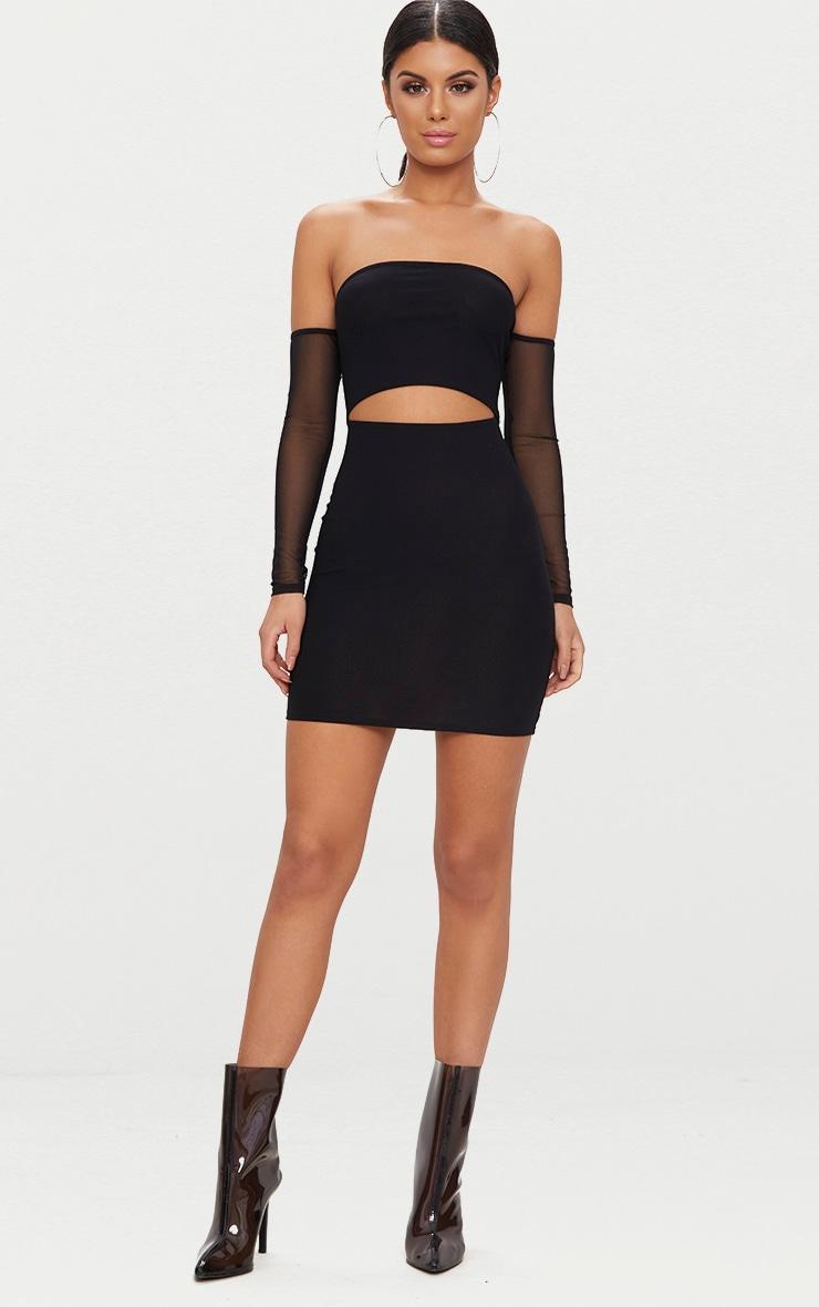 Black Bardot Mesh Sleeve Bodycon Dress 4