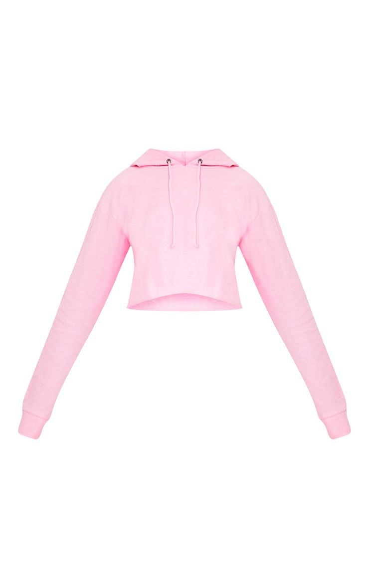 Charissa Baby Pink Inside Out Cropped Hoodie 3