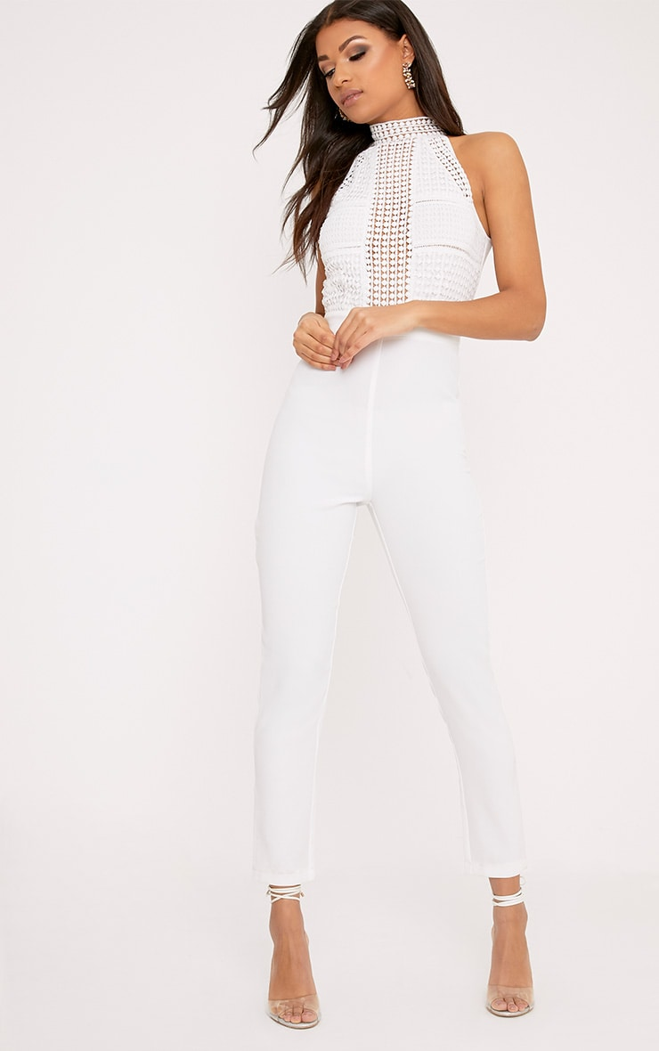 White Lace Embroidery Top Jumpsuit 1