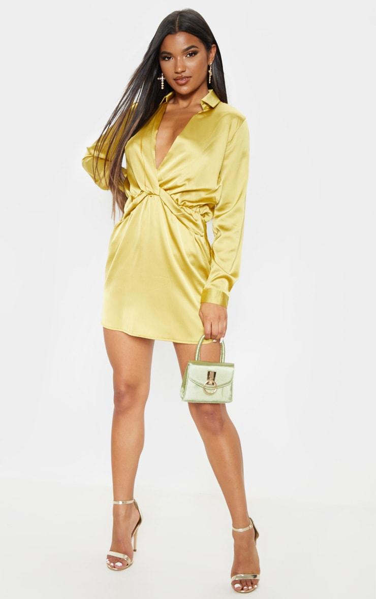 Katalea Dark Lime Twist Front Silky Shirt Dress 4