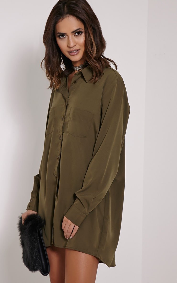 Effy Khaki Crepe Shirt Dress 4