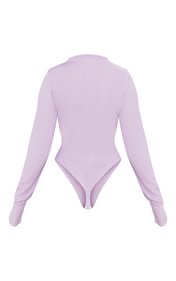 Lilac  Rib Zip Up Long Sleeve Bodysuit 6
