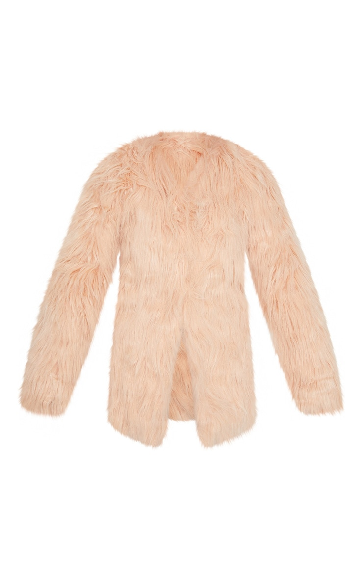 Amaria Nude Shaggy Faux Fur Jacket 3