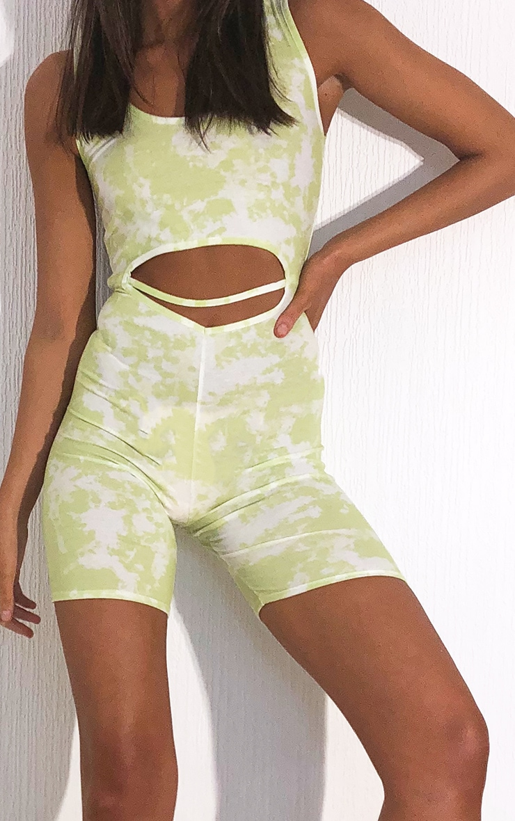 Lime Tie Dye Scoop Neck Cut Out Unitard 4