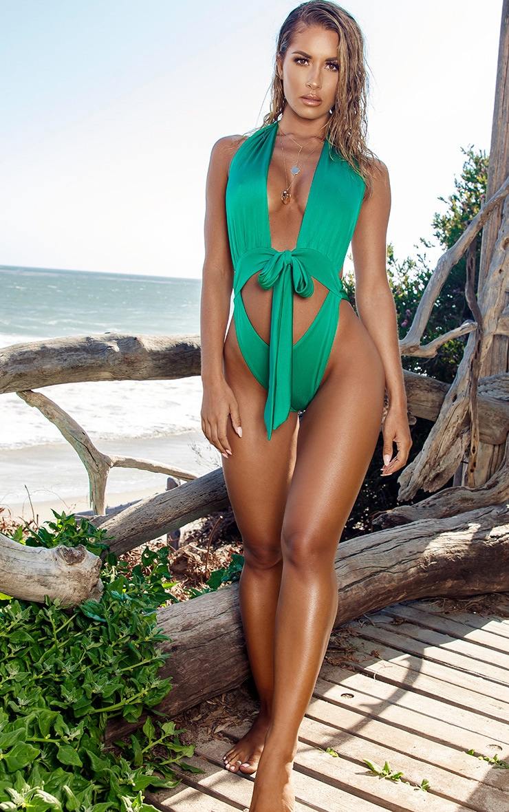 Green Halterneck Tie Waist Swimsuit 5