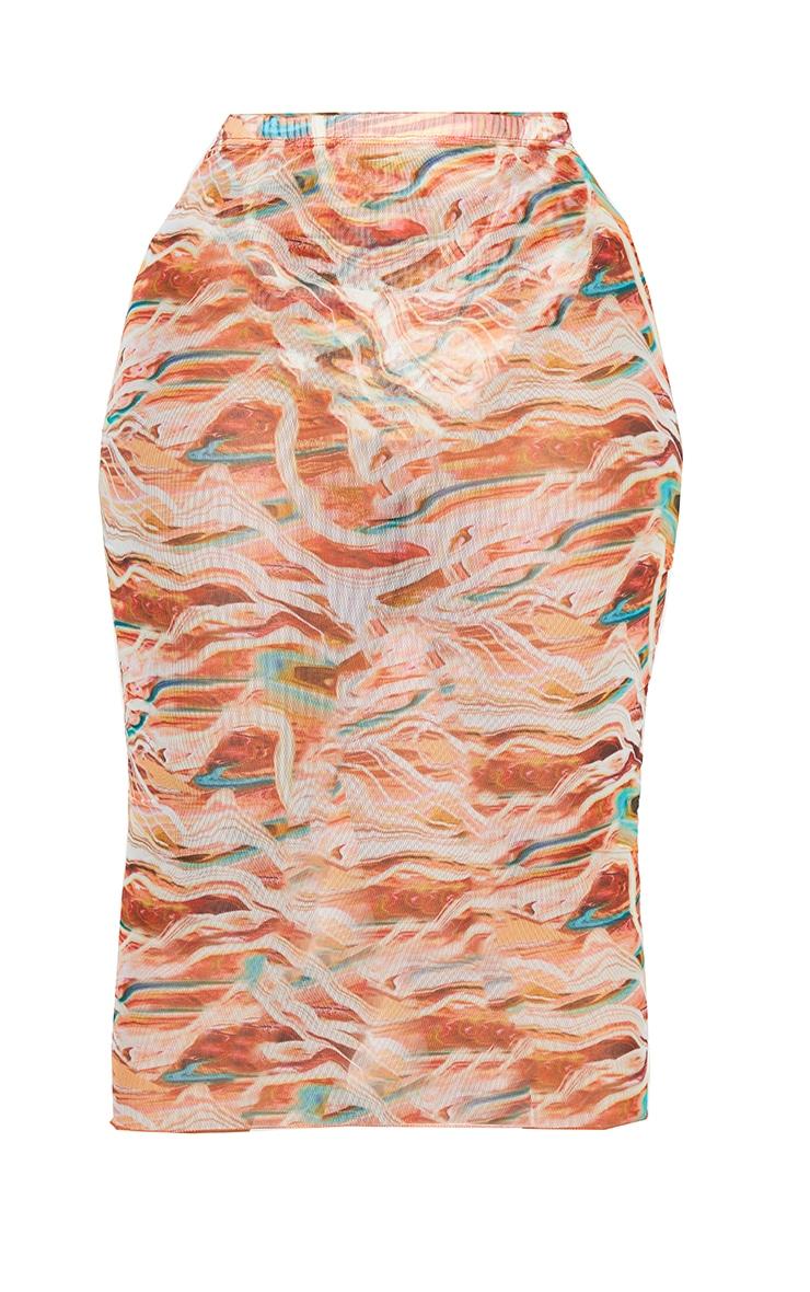 Plus Brown Marble Print Mesh Bodycon Midi Skirt 5