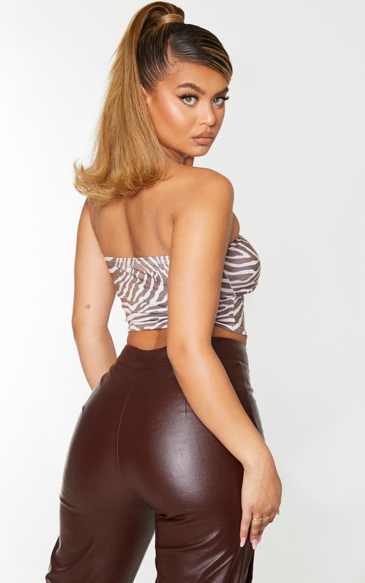 Brown Zebra Print Jersey Bandeau Cut Out Crop Top 2