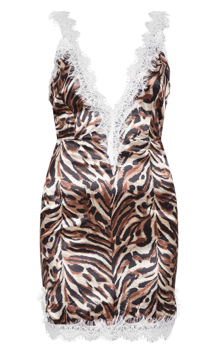 Tan Tiger Print Satin Lace Insert Bodycon Dress  3