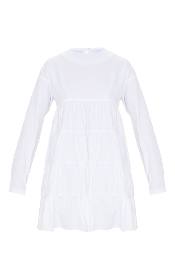 White Tiered Long Sleeve Crew Neck Smock Dress 3
