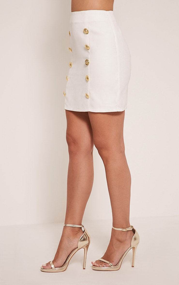 Bette White Button Detail Mini Skirt 8