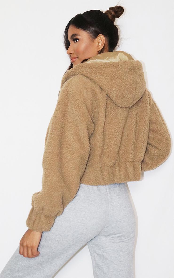 Veste en faux mouton camel zippée à capuche 2